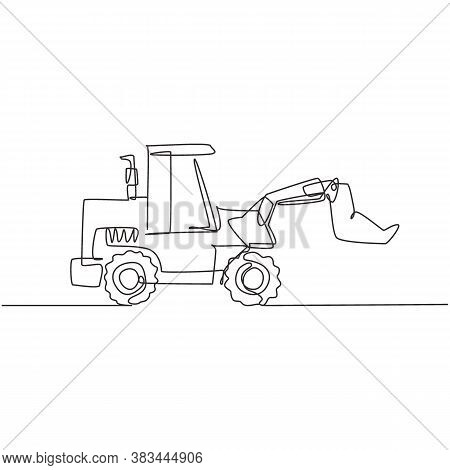 One Continuous Line Drawing Of Bulldozer For Digging Soil, Commercial Vehicle. Heavy Backhoe Constru