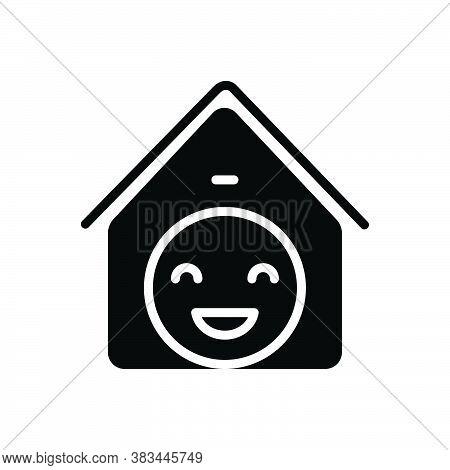 Black Solid Icon For Satisfaction Contentment Gratification Delight Achievement Enjoyment Happiness