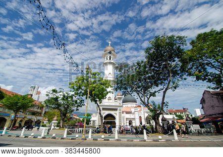 Georgetown, Penang/malaysia - Feb 14 2020: Minaret Masjid Kapitan Keling.