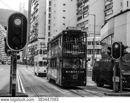 Black And White Hongkong : Dec 9 , 2016 : Tram On The Road In Hongkong