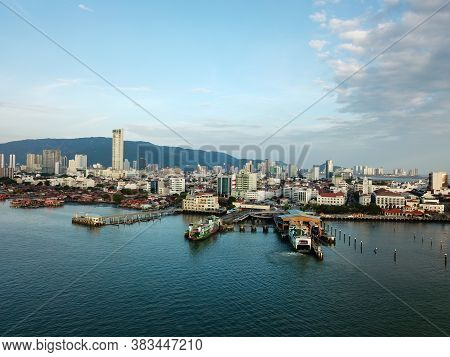 Georgetown, Penang/malaysia - Feb 28 2020: Penang Ferry Jetty Terminal Located In Georgetown.