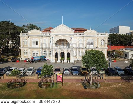Georgetown, Penang/malaysia - Feb 28 2020: Town Hall At Jalan Padang Kota Lama.