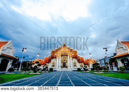 Bangkok, Thailand - June 14, 2019: Peopel Visit Benjamaborpit Temple. This Temple Known As The Marbl