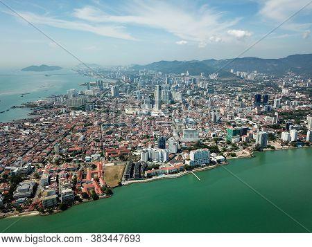 Georgetown, Penang/malaysia - Feb 28 2020: Aerial View Georgetown Under Blue Sky.