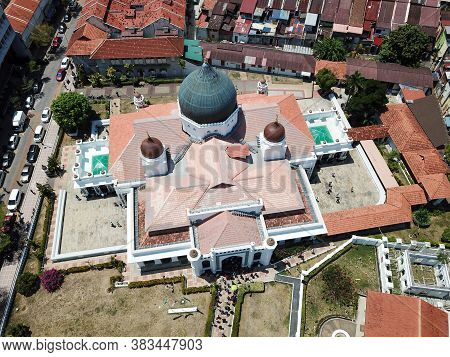 Georgetown, Penang/malaysia - Feb 28 2020: Aerial Top Down View Architecture Masjid Kapitan Keling.