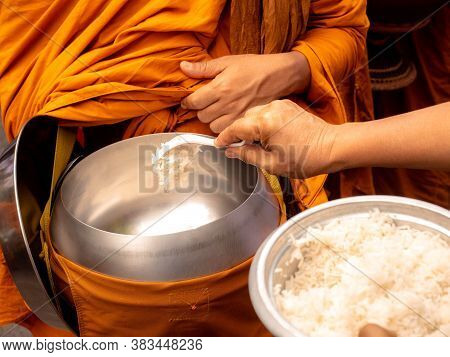 The Monks Of The Buddhist Sangha (give Alms To A Buddhist Monk), Which Came Out Of The Buddhist Offe