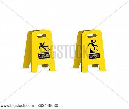 Slippery Wet Floor Warning Sign. Falling Danger Icon. Vector On Isolated White Background. Eps 10