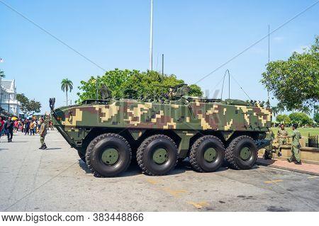 Georgetown, Penang/malaysia - Feb 29 2020: Malaysia Military Exhibition Of Tanker At Jalan Kota Lama