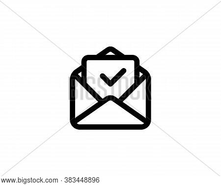 Letter Approved Line Icon. Envelope With Paper Sheet With Check Mark. Envelope With Confirmed Docume