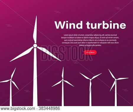 Offshore Wind Farm Infographics Template. Ecological Power Plant. Wind Energy Power Concept Poster H