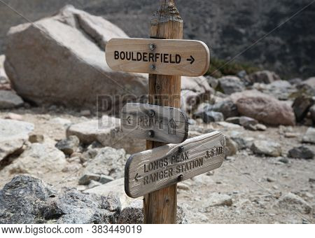 Trail Juncture Signs For The Boulder Field & Privy & Longs Peak Trail In Rocky Mountain National Par