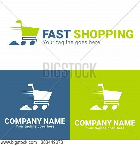 Fast Shopping Concept Logo Design Template. Shopping Cart Vector Illustration Isolated On White Back