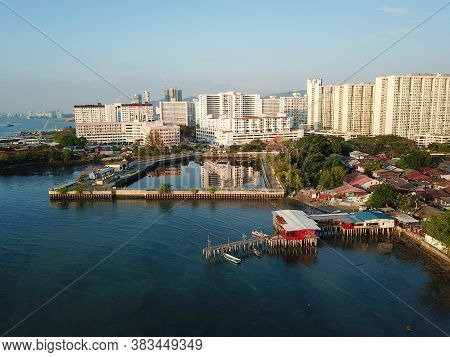 Georgetown, Penang/malaysia - Feb 29 2020: Aerial View Wooden House At Clan Jetty. Background Is Mac