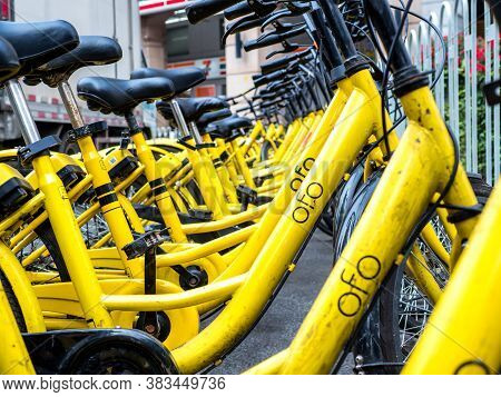 Beijing, China - March 27, 2018: Ofo Bikes Is The New Bike Sharing Company In China. Ofo Is A Popula