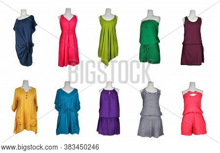 Collection Of Many Color Evening Gown Dress On Mannequin.