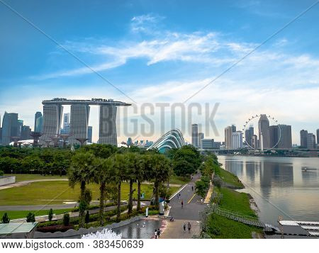 Marina Barrage Singapore - Nov 25, 2018: The Place Is A Dam Built At The Confluence Of Five Rivers,