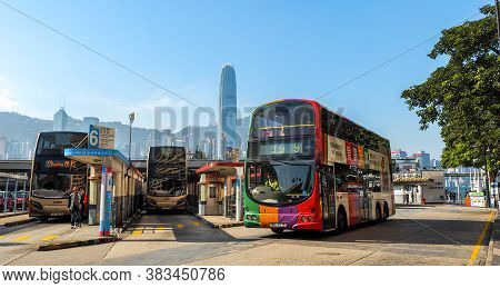 Hong Kong - December 10, 2016: Bus Station Victoria Harbor, On December 10, 2016 In Hong Kong. With