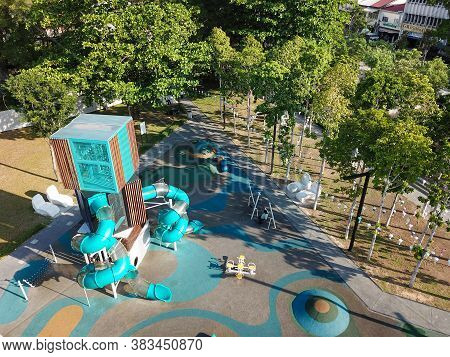 Georgetown, Penang/malaysia - Feb 29 2020: Aerial View Playground At Sia Boey Urban Archaeological P