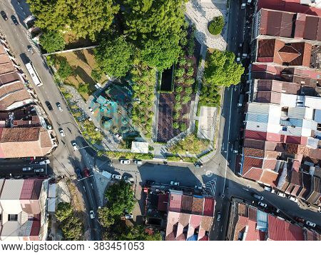 Georgetown, Penang/malaysia - Feb 29 2020: Aerial View Green Park At Sia Boey Urban Archaeological P