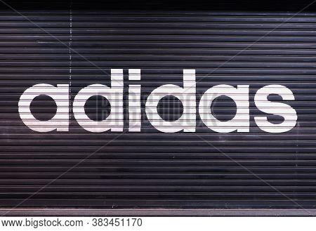 Hong Kong - September 7th, 2016. A Closed Adidas' Shop At Night Outside The Store.