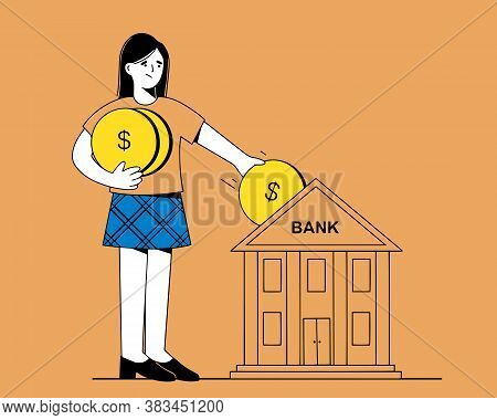 A Woman Pays A Bank Loan. Payday, Deposit Date. A Woman Gives Gold Coins To The Bank. Vector Illustr