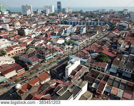 Georgetown, Penang/malaysia - Feb 29 2020: Aerial View Old Heritage House At Georgetown.