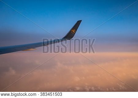 Frankfurt Germany 18.11.19 Condor Air Airplane In The Sky Winglet In Front Of Sunset Or Sunrise Colo
