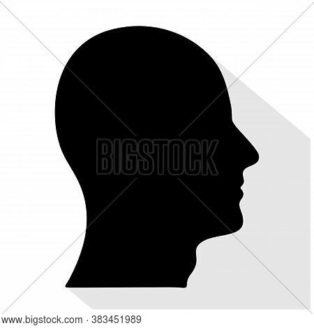 Head Man Icon. Isolated Vector Illustration. Men Head Silhouette Male Profile. Black Silhouette. Man