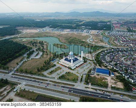 Kepala Batas, Penang/malaysia - Mar 15 2020: Drone View Abdullah Fahim Mosque At Town.