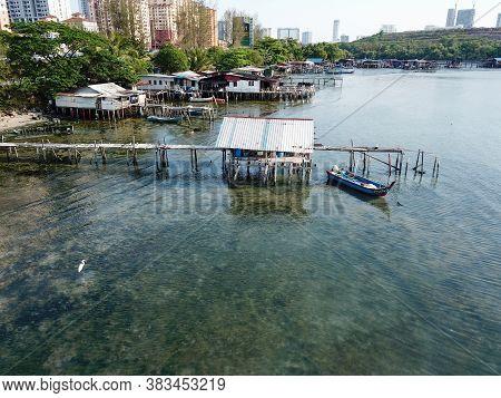 Georgetown, Penang/malaysia - Mar 17 2020: Aerial View Fishing Village At Jelutong.