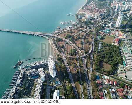 Georgetown, Penang/malaysia - Mar 17 2020: Aerial View Interchange Highway At Penang Island.