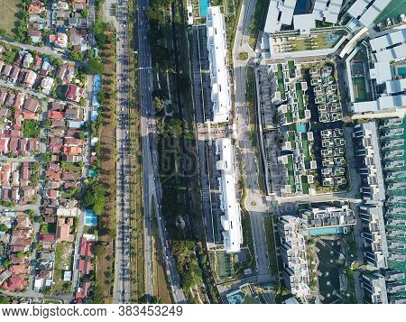 Georgetown, Penang/malaysia - Mar 17 2020: Aerial View Housing Estate And The Light Condo.