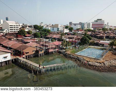 Georgetown, Penang/malaysia - Mar 17 2020: Drone View Basketball Field Near Clan Jetty.