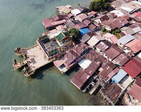 Georgetown, Penang/malaysia - Mar 17 2020: Aerial View Hean Boo Thean Temple.