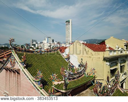 Georgetown, Penang/malaysia - Mar 17 2020: Aerial View Colorful Rooftop With Decoration At Yap Kongs