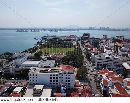 Georgetown, Penang/malaysia - Mar 17 2020: Aerial View Georgetown With Background Butterworth.