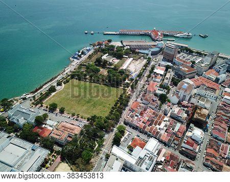 Georgetown, Penang/malaysia - Mar 17 2020: Padang Kota Lama And Swettenham Pier.