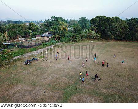 Seberang Perai, Penang/malaysia - Mar 20 2020: Local Kids Play In Football Field.