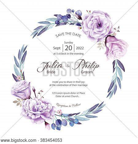 Wedding Invitation Card On White Background. Vector. Purple Rose, Wax Flower, Silver Dollar Plant.