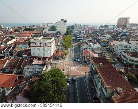 Georgetown, Penang/malaysia - Mar 21 2020: No Car At Masjid Kapitan Keling During Movement Control O