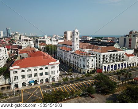 Georgetown, Penang/malaysia - Mar 21 2020: Colonial Building Wisma Kaswam In Morning Due To Movement