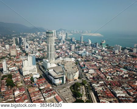 Georgetown, Penang/malaysia - Mar 21 2020: Aerial View Komtar Building In Sunny Morning.