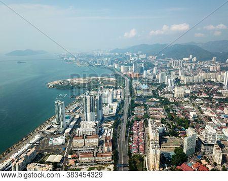 Georgetown, Penang/malaysia - Mar 21 2020: Aerial View Tun Dr Lim Chong Eu Highway With Less Car Tra