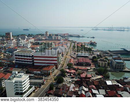 Georgetown, Penang/malaysia - Mar 21 2020: Drone View Less Car At Street Due To Coronavirus Covid19