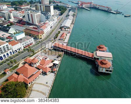 Georgetown, Penang/malaysia - Mar 21 2020: Aerial View No Car At Church Street Pier During Movement