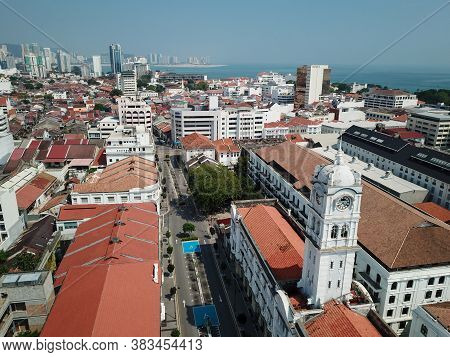 Georgetown, Penang/malaysia - Mar 21 2020: Aerial View Old Colonial Building Wisma Kastam.