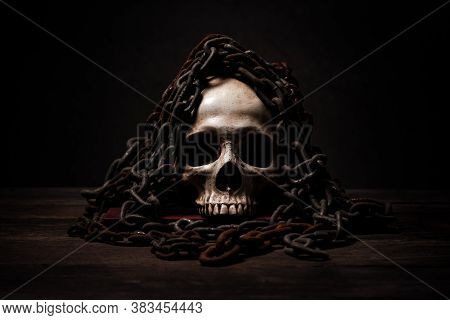 Still Life Of Human Skull That Died For A Long Times ,concept Of Horror Or Thriller Movies Of Scary