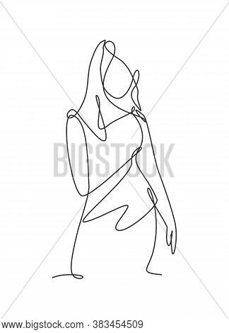 Single Continuous Line Drawing Of Minimalistic Pretty Sexy Abstract Body Woman For Cosmetic, T-shirt