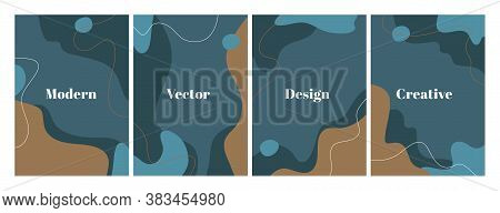 Set Of Stylish Templates With Organic Abstract Shapes And Line In Dark Blue Colors. Modern Backgroun