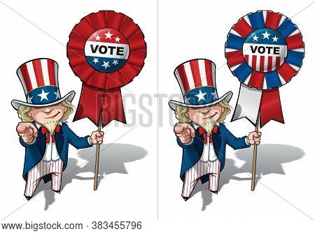 Vector Illustrations Of A Cartoon Uncle Sam Pointing 'i Want You' , Holding A Waving American Flag,